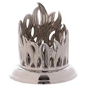 Portacandela ottone argento decoro fiamma 7 cm s1