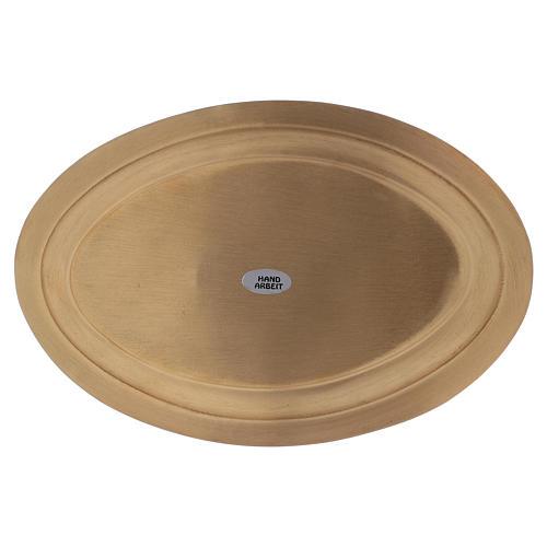 Piatto portacandele ovale in ottone dorato 16x9,5  3