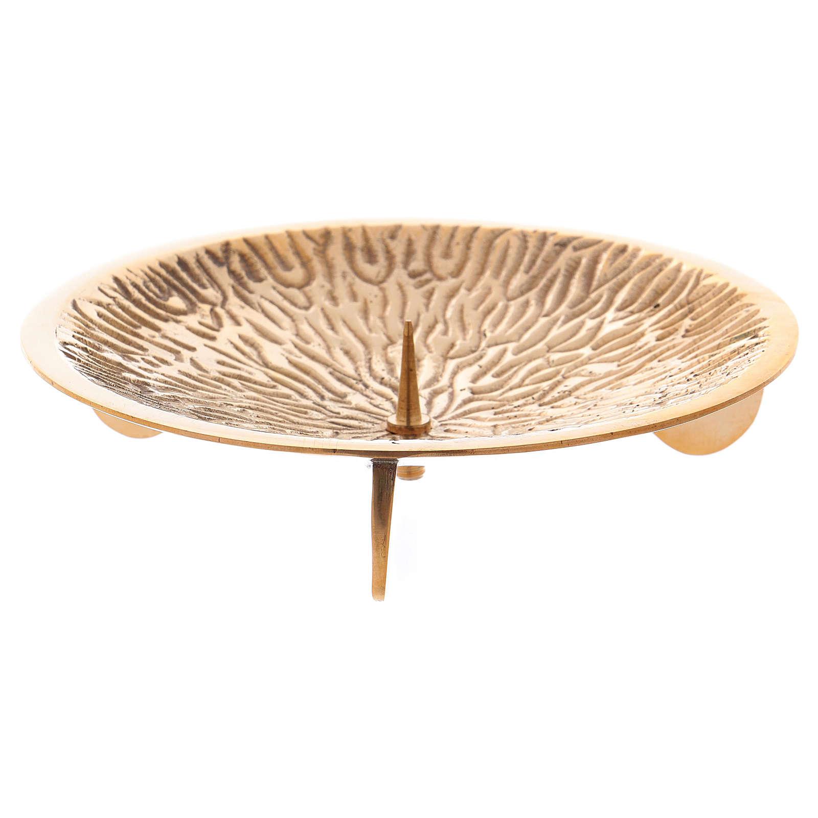 Portacandele con decorazioni su piattino e spuntone ottone dorato 4