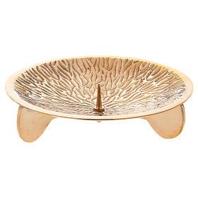 Portacandele con decorazioni su piattino e spuntone ottone dorato s1