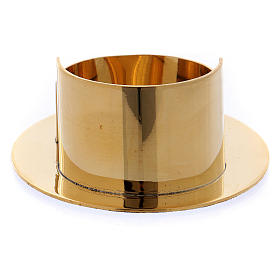 Portacandele moderno forma ovale ottone oro lucido 6 cm s3