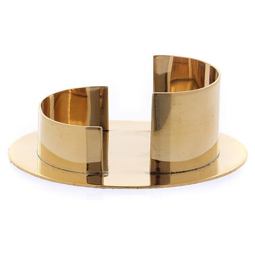 Portacandele moderno forma ovale ottone oro lucido 6 cm 1
