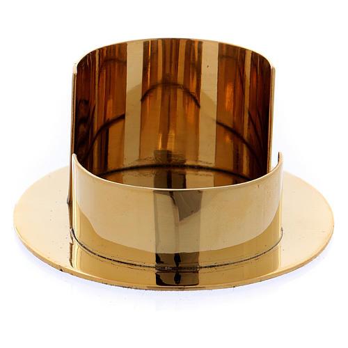 Portacandele moderno forma ovale ottone oro lucido 6 cm 2