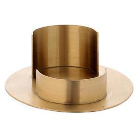 Portacandele forma ovale moderna in ottone dorato satinato interno 9x 5 cm s2
