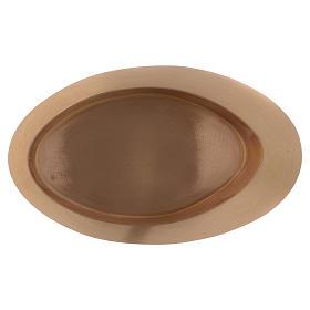 Piatto portacandele in ottone oro satinato ovale 29x11 s3