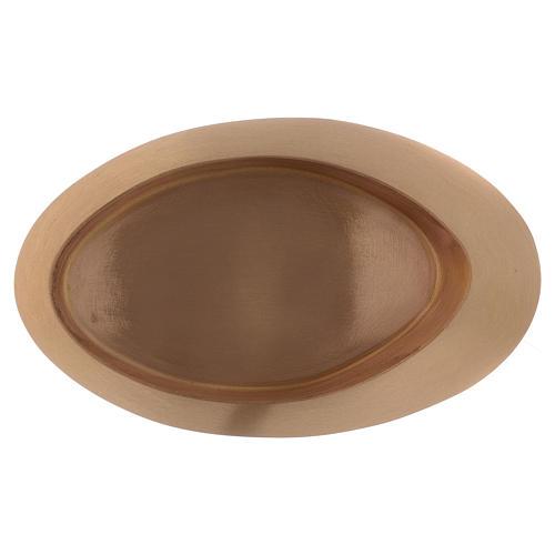 Piatto portacandele in ottone oro satinato ovale 29x11 3