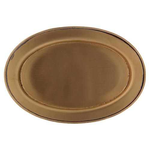 Piattino portacandela 12 cm ottone dorato opaco 1