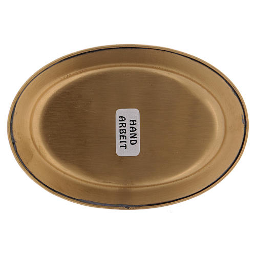 Piattino portacandela 12 cm ottone dorato opaco 3