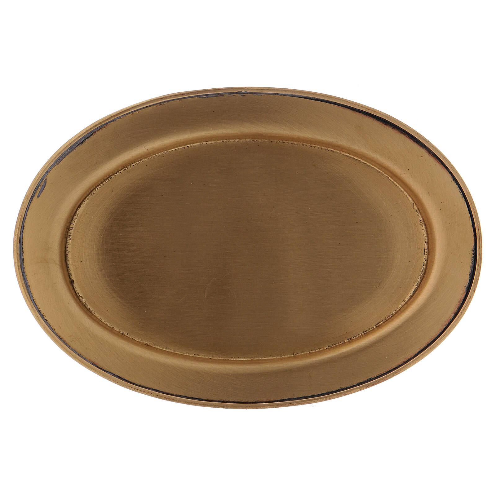 Matte gold plated brass candle holder plate 4 3/4 in 3