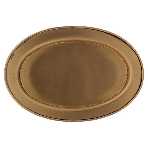 Matte gold plated brass candle holder plate 4 3/4 in 1