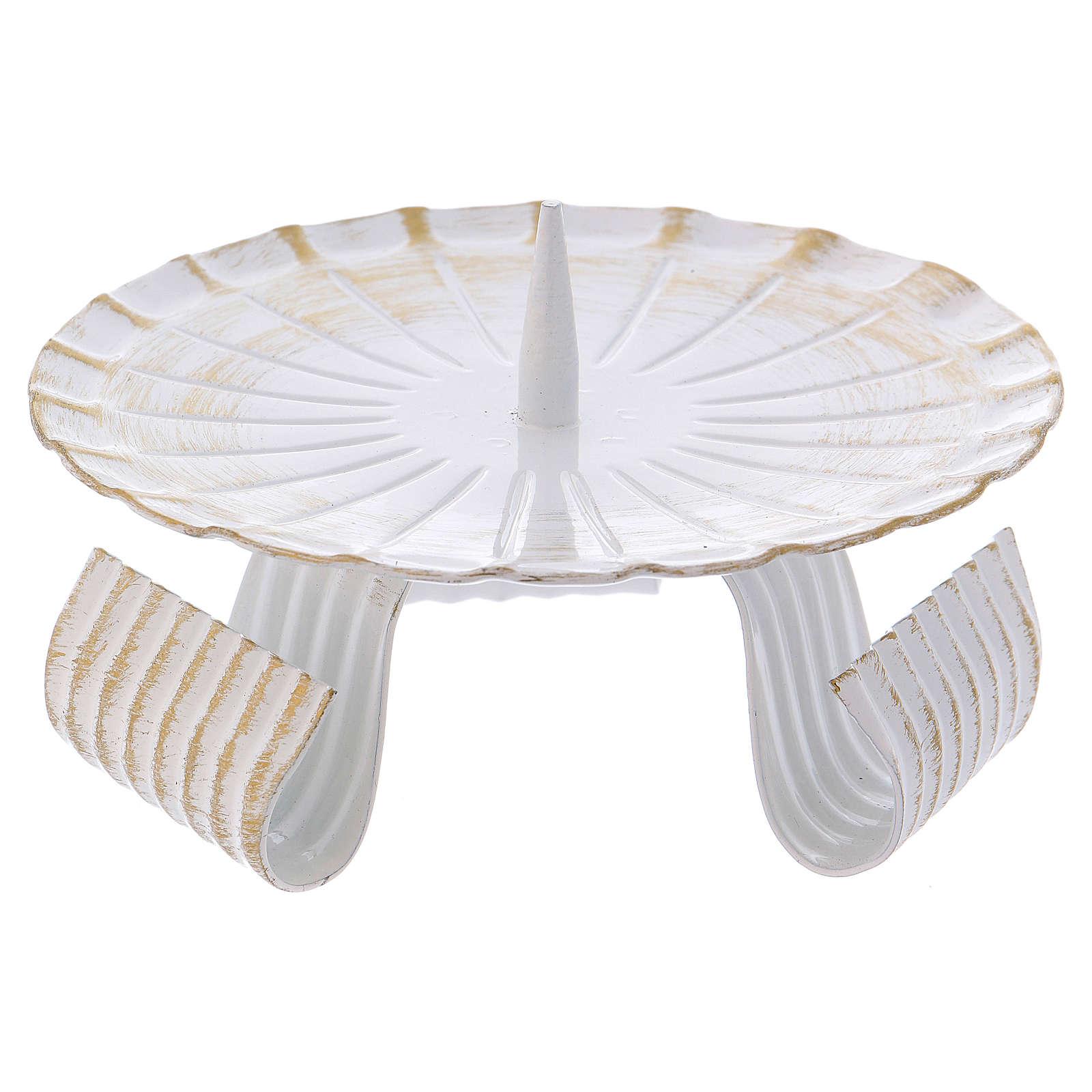 Portacandele treppiedi ferro bianco e oro 12 cm 3