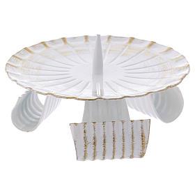 Portacandele treppiedi ferro bianco e oro 12 cm s2