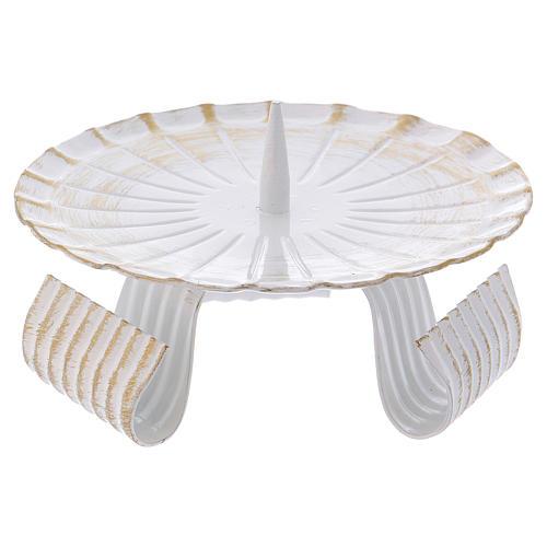 Portacandele treppiedi ferro bianco e oro 12 cm 1