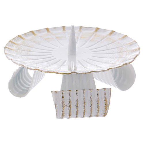 Portacandele treppiedi ferro bianco e oro 12 cm 2