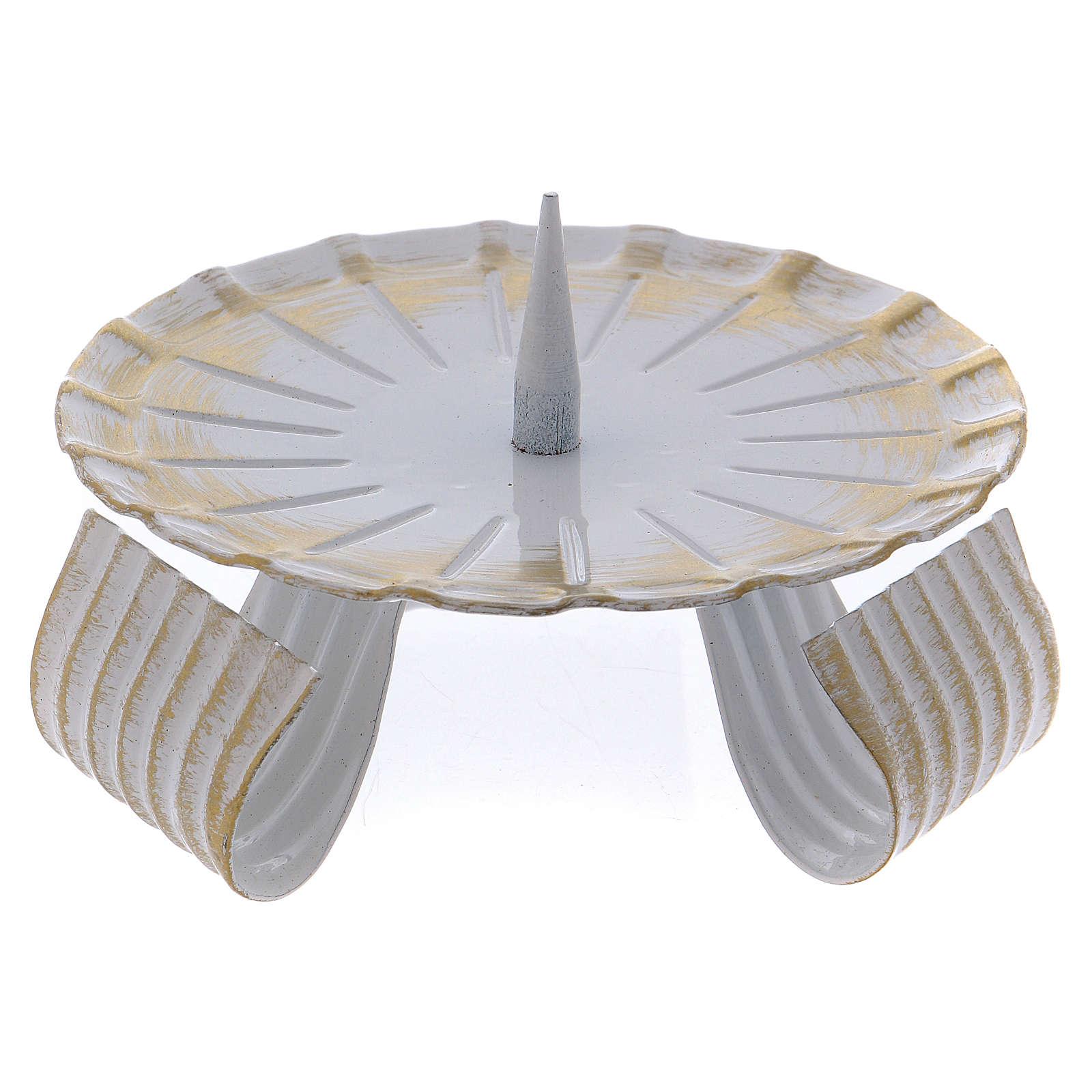 Portavela de hierro lacado blanco y oro base trípode 10 cm 3