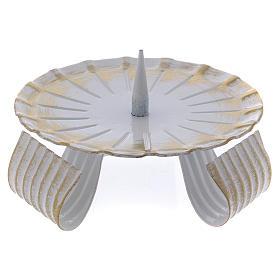 Portavela de hierro lacado blanco y oro base trípode 10 cm s1