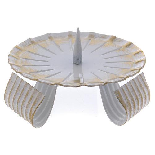 Portavela de hierro lacado blanco y oro base trípode 10 cm 1