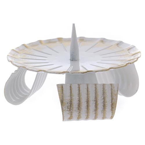 Portavela de hierro lacado blanco y oro base trípode 10 cm 2