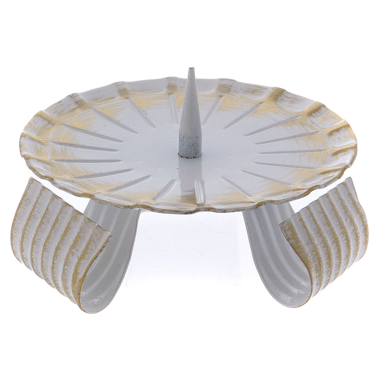 Portacandela in ferro laccato bianco e oro base treppiedi 10 cm 3