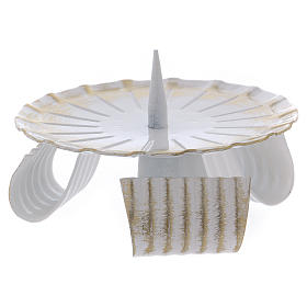 Portacandela in ferro laccato bianco e oro base treppiedi 10 cm s2