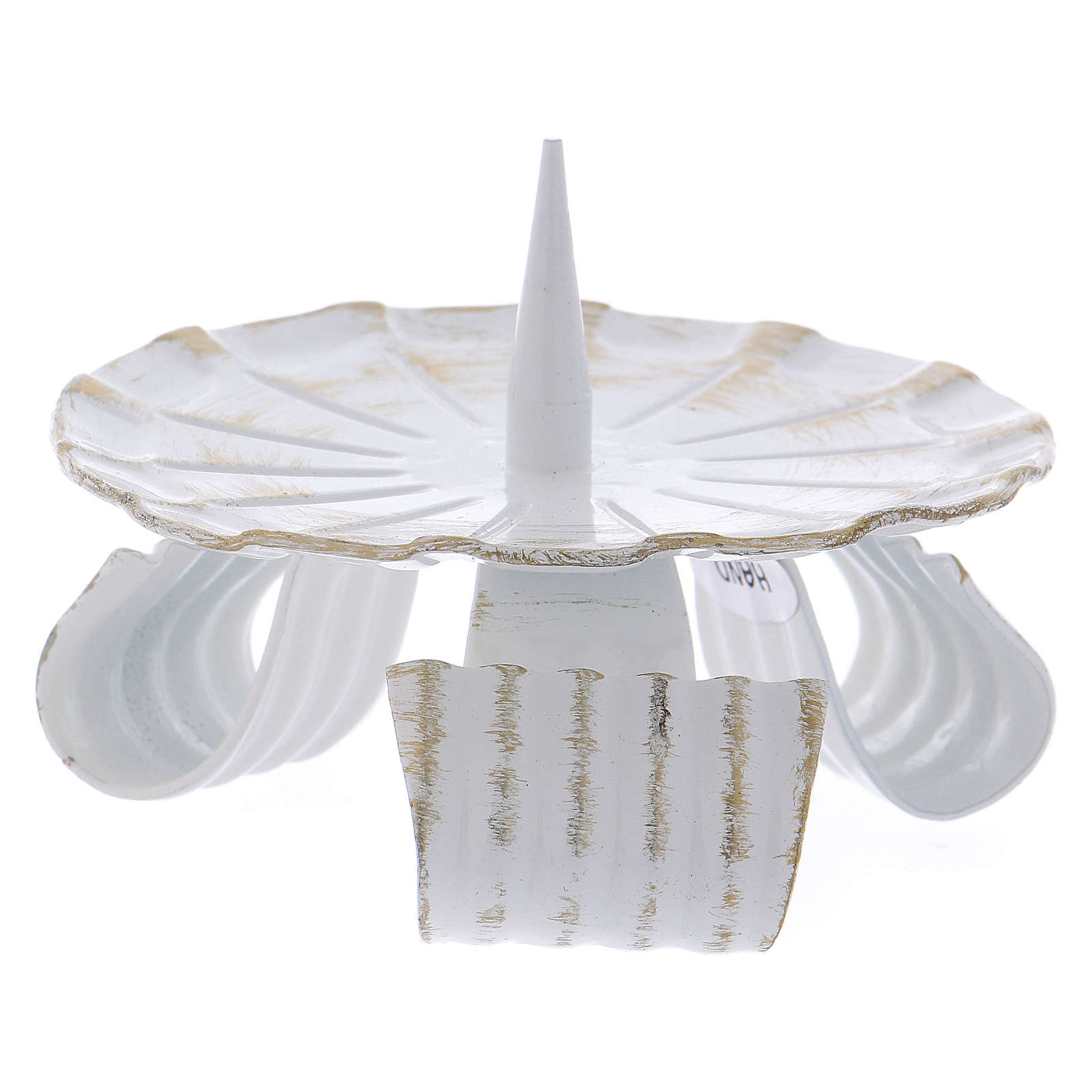 Portacandela in ferro bianco base treppiedi e spuntone 10 cm 3