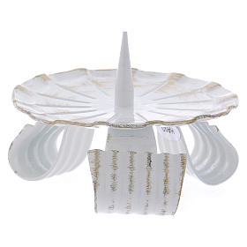 Portacandela in ferro bianco base treppiedi e spuntone 10 cm s2