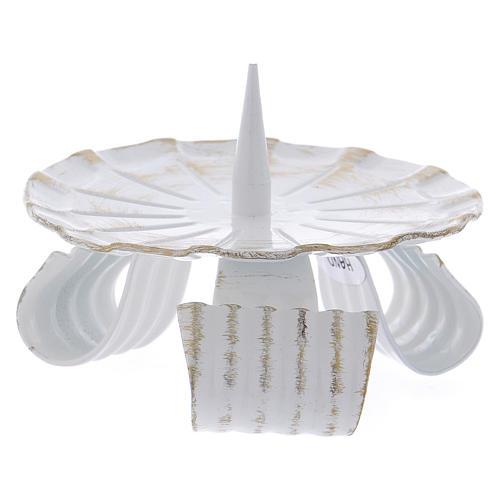 Portacandela in ferro bianco base treppiedi e spuntone 10 cm 2