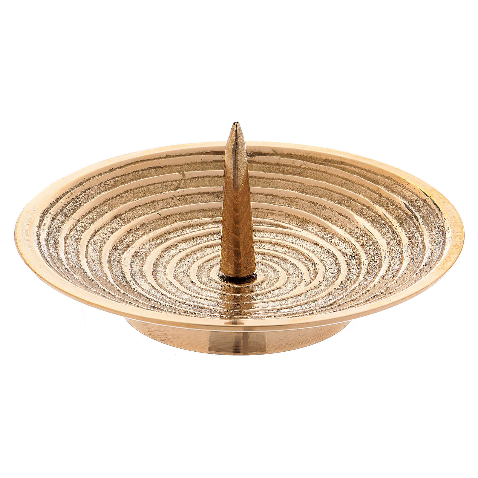 Piatto portacandele ottone oro disegno spirale 10 cm 4