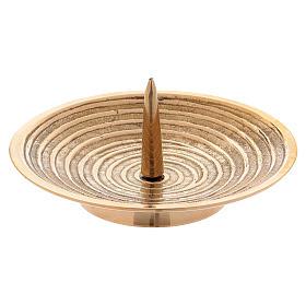 Piatto portacandele ottone oro disegno spirale 10 cm s1