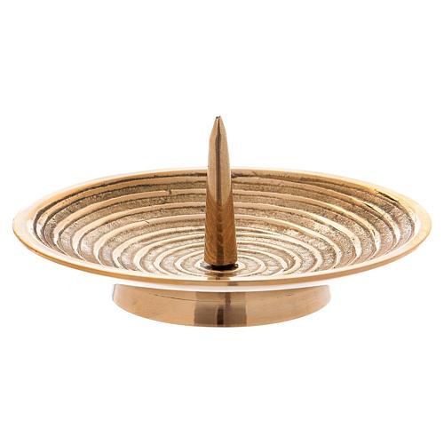Piatto portacandele ottone oro disegno spirale 10 cm 2