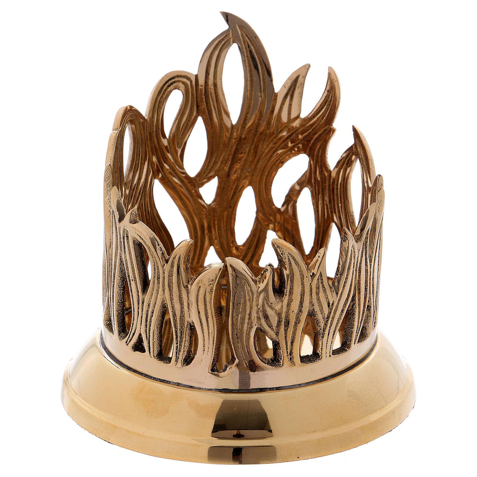 Podstawka świecy z mosiądzu pozłacana podstawa polerowana dekoracja w kształcie płomienia 9 cm 4