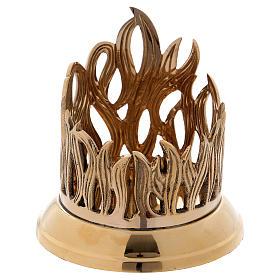 Podstawka świecy z mosiądzu pozłacana podstawa polerowana dekoracja w kształcie płomienia 9 cm s1