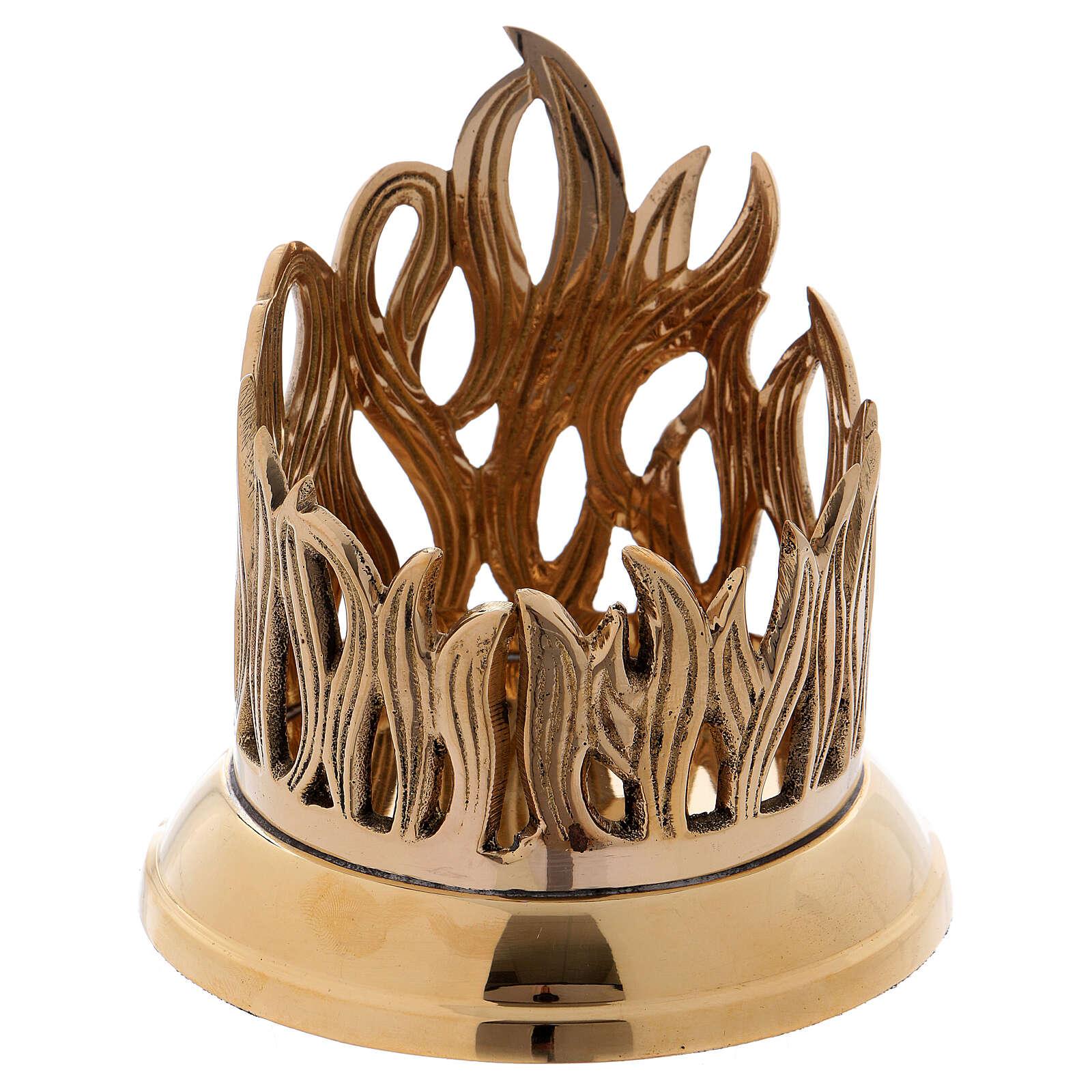 Porta-vela em latão dourado base brilhante decoração em forma de chama 9 cm 4