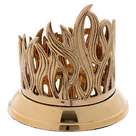 Porta-vela em latão dourado base brilhante decoração em forma de chama 9 cm s3