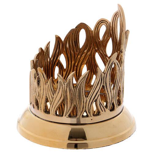 Porta-vela em latão dourado base brilhante decoração em forma de chama 9 cm 2