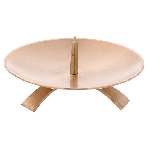 Candle holder in satinised gold-plated brass with tripod 13 cm 1