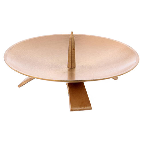 Candle holder in satinised gold-plated brass with tripod 13 cm 2