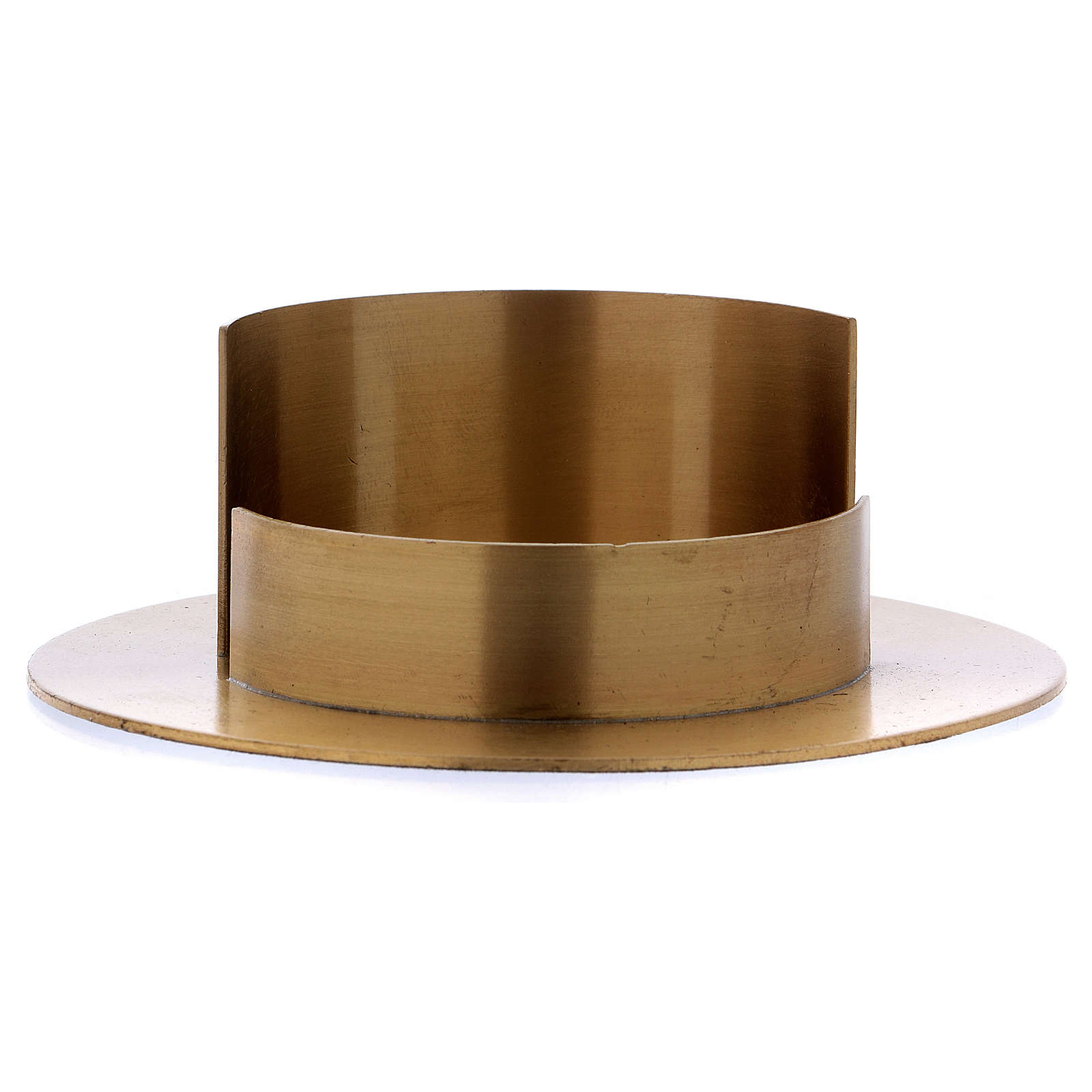 Round candle holder in satinised gold-plated brass  4