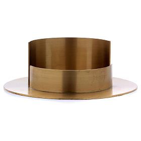 Round candle holder in satinised gold-plated brass  s2