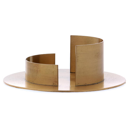 Round candle holder in satinised gold-plated brass  1