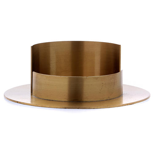 Round candle holder in satinised gold-plated brass  2