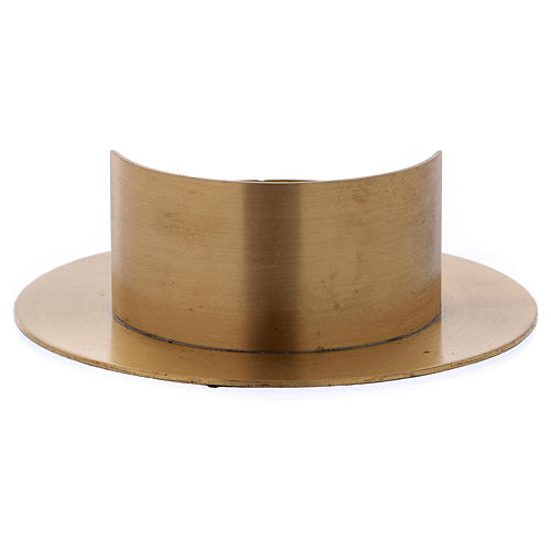 Round candle holder in satinised gold-plated brass  3