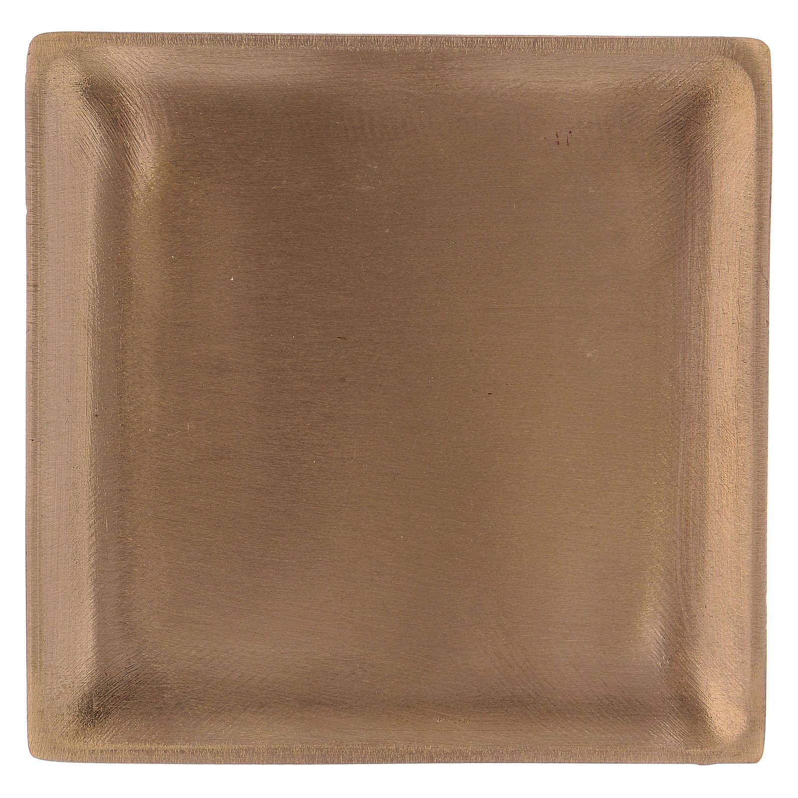 Piattino portacandela in ottone dorato satinato quadrato  3