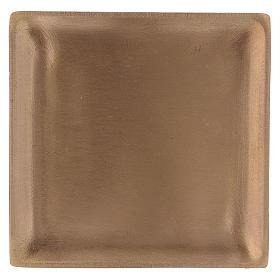 Piattino portacandela in ottone dorato satinato quadrato  s1