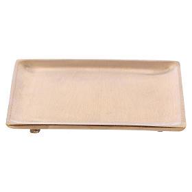 Piattino portacandela in ottone dorato satinato quadrato  s2