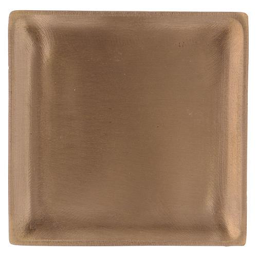 Piattino portacandela in ottone dorato satinato quadrato  1