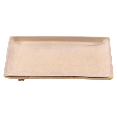 Piattino portacandela in ottone dorato satinato quadrato  2