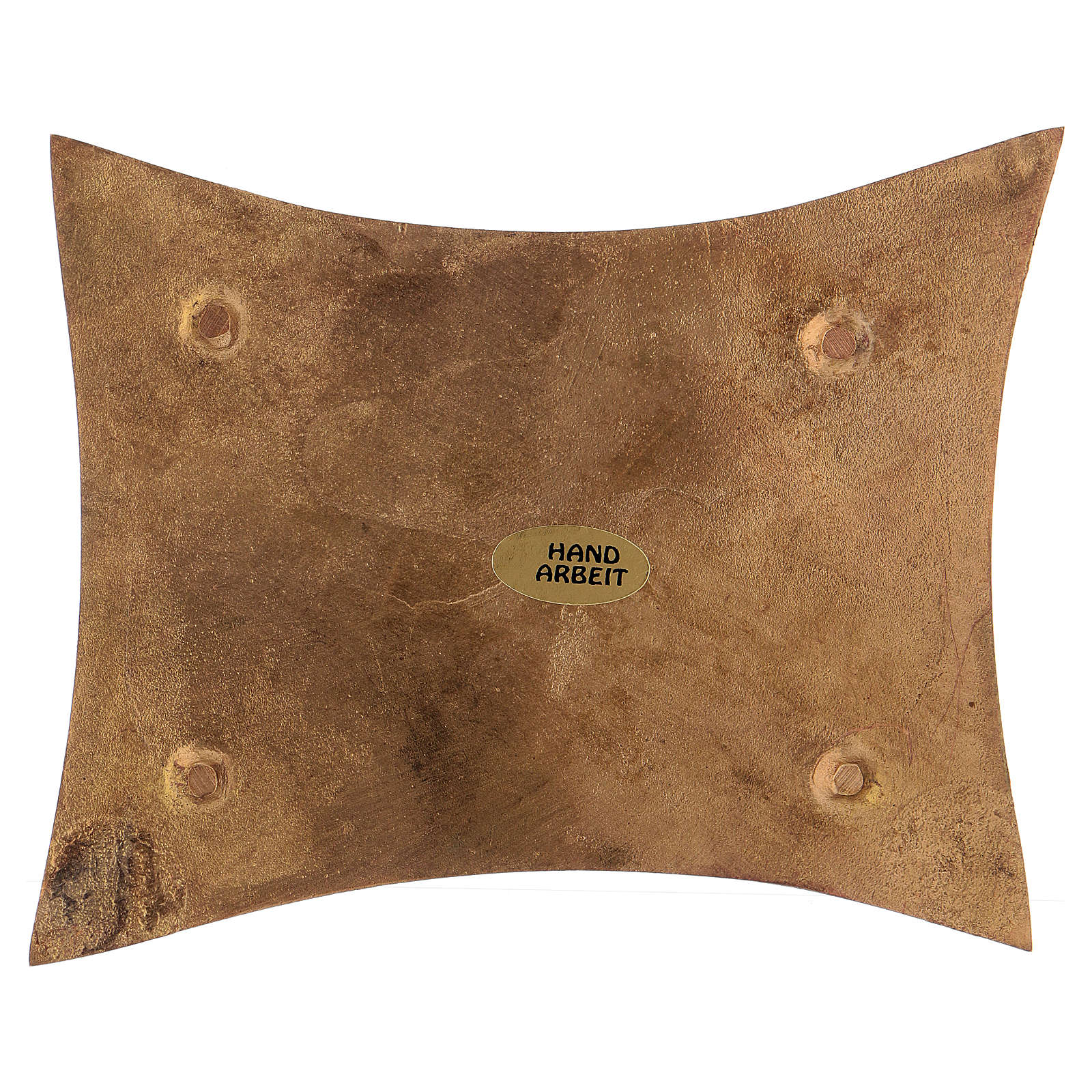 Piattino portacandele in ottone dotato satinato rettangolare 11x7 cm 3