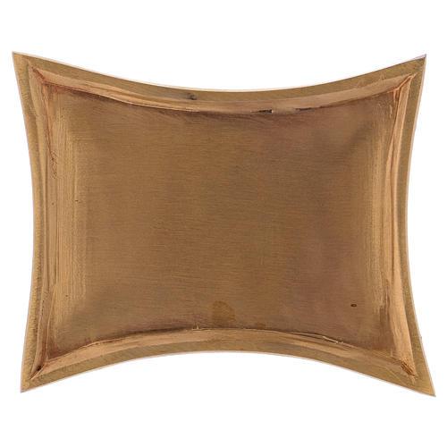 Piattino portacandele in ottone dotato satinato rettangolare 11x7 cm 1