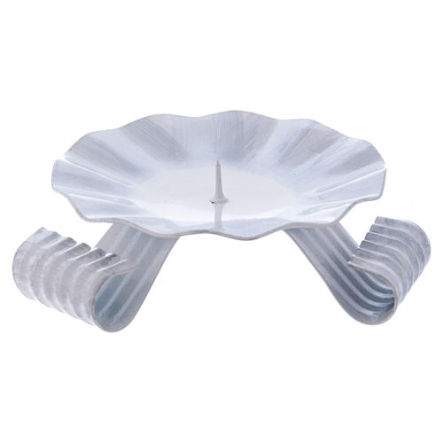 Candle holder in white iron and silver with jag diam. 8 cm 1